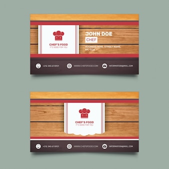 Tarjeta de visita para restaurante con fondo de madera