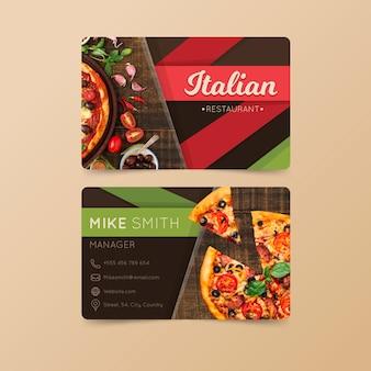 Tarjeta de visita para restaurante italiano