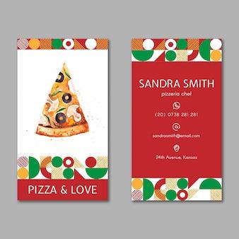Tarjeta de visita de restaurante de pizza