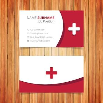 Tarjeta de visita roja y blanca de ambulancia