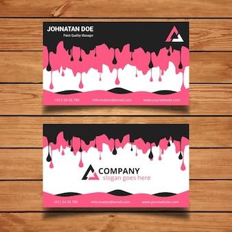 Tarjeta de visita rosa y negra con pintura goteando