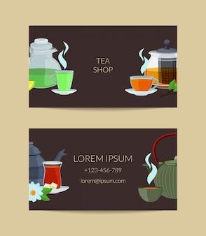 Tarjeta de visita de las teteras y de las tazas de té de la historieta