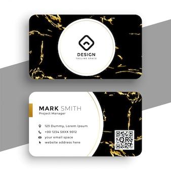 Tarjeta de visita de textura de mármol negro y dorado