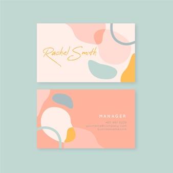 Tarjeta de visita de tonos rosados de manchas de color pastel
