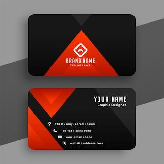 Tarjeta de visita triangular roja y negra