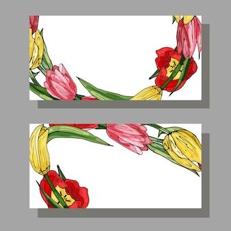 Tarjeta de visita con tulipán y hojas verdes copie el lugar del espacio para el texto tarjetas florales decorativas