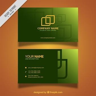 Tarjeta de visita verde con formas abstractas doradas