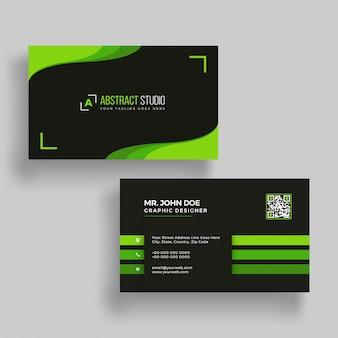 Tarjeta de visita verde y negro horizontal con la presentación delantera y trasera.