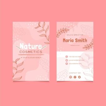 Tarjeta de visita vertical de cosméticos naturales.