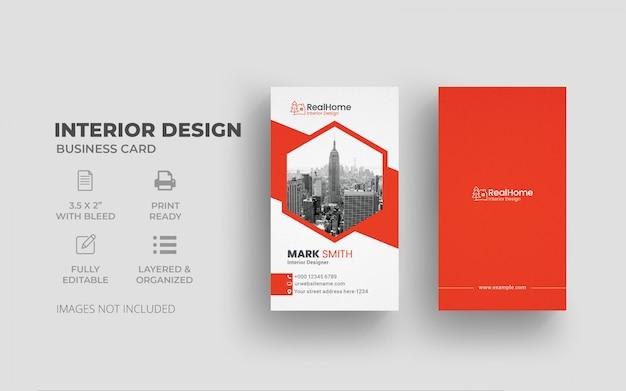 Tarjeta de visita vertical del diseño interior