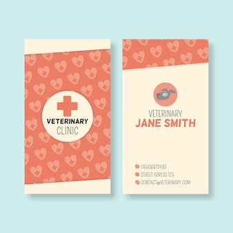 Tarjeta de visita vertical veterinaria de doble cara.