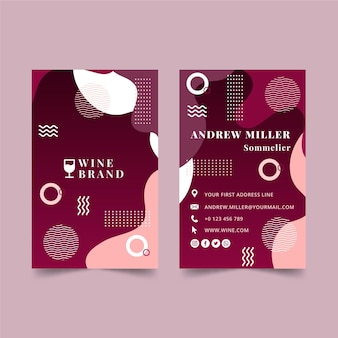 Tarjeta de visita vertical de vino