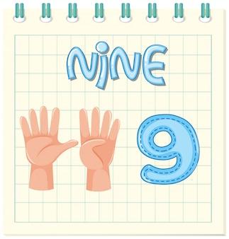 Tarjeta de vocabulario con el número nueve