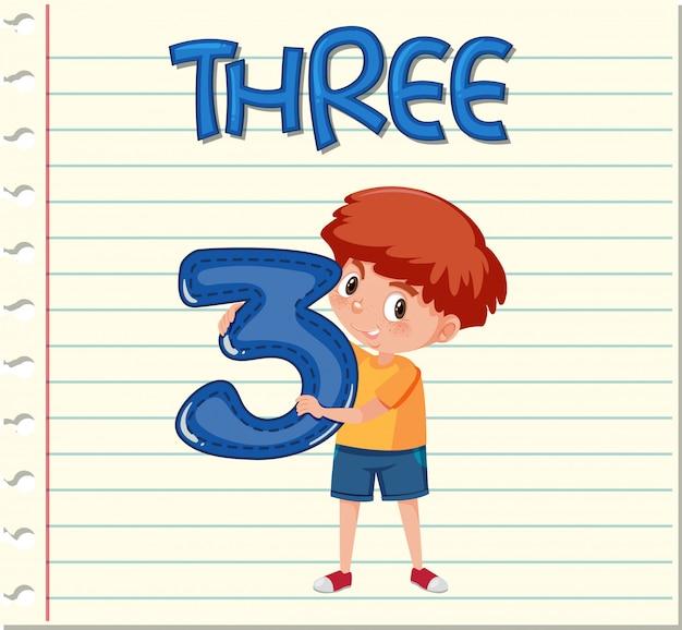Tarjeta de vocabulario con el número tres