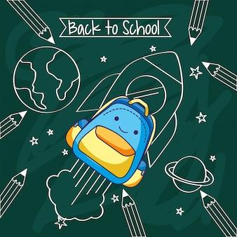 Tarjeta de vuelta a la escuela con dibujos animados.