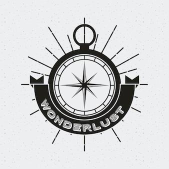 Tarjeta de wanderlust con icono de brújula