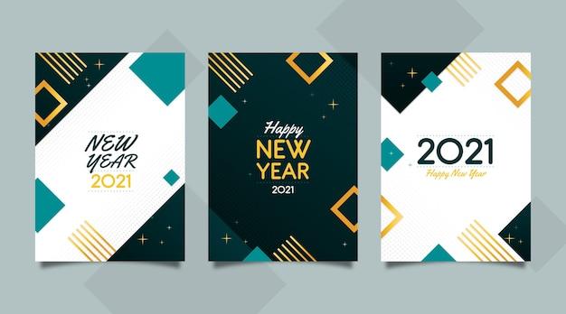 Tarjetas abstractas de año nuevo 2021