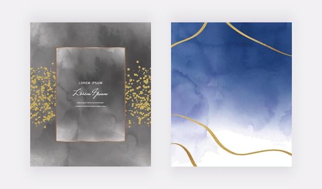Tarjetas de acuarela negras y azul oscuro con marco geométrico y líneas de brillo dorado, confeti