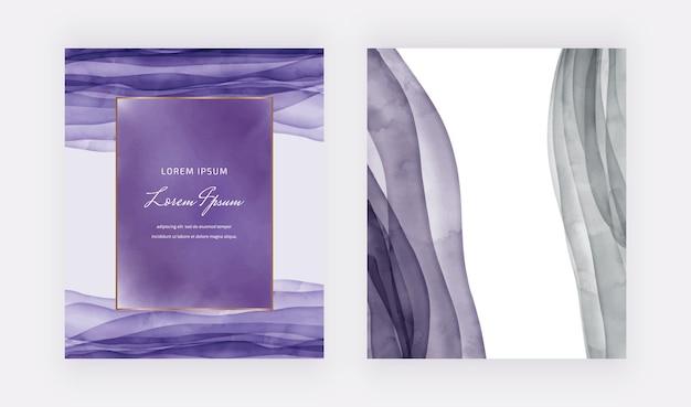 Tarjetas de acuarela púrpura con ilustración de marco geométrico