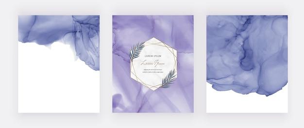 Tarjetas de acuarela de tinta de alcohol púrpura con marcos geométricos de mármol y hojas