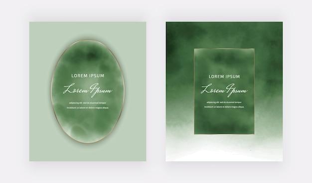 Tarjetas de acuarela de tinta de alcohol verde con marcos