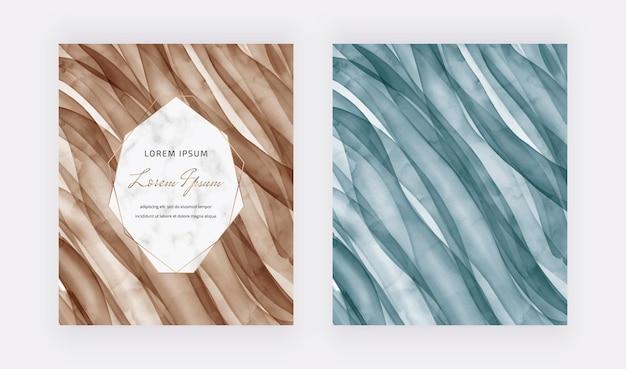 Tarjetas de acuarela de trazo de pincel marrón y azul con marco de mármol