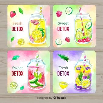 Tarjetas de acuarela zumo de frutas detox