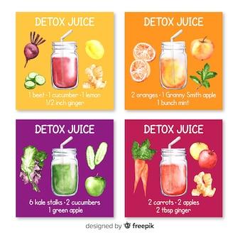 Tarjetas acuarela zumos detox