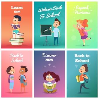 Tarjetas con alumnos. plantilla de diseño de tarjetas con personajes escolares