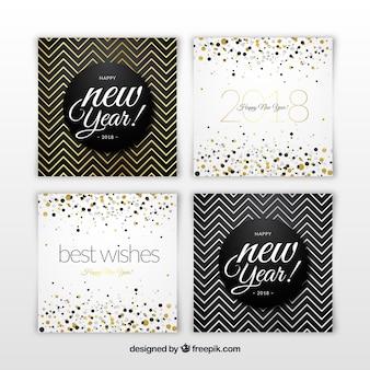 Tarjetas de año nuevo 2018 plateadas y doradas con zig zag y puntos