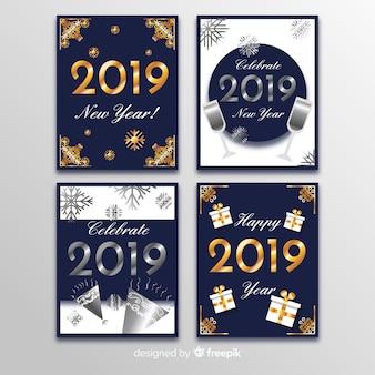 Tarjetas de año nuevo 2019 doradas y plateadas