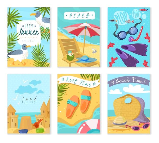 Tarjetas de artículos de vacaciones de verano. conjunto de seis tarjetas verticales con inventario de accesorios de playa para vacaciones de verano, los atributos del resto de hojas tropicales de arena y gaviota