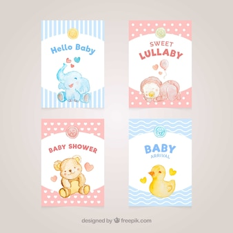 Tarjetas azules y rojos de bienvenida al bebé