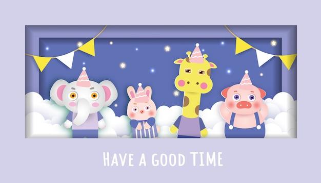 Tarjetas de baby shower con fiesta de animales lindos en el cielo. estilo de corte de papel.