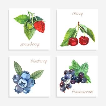 Tarjetas de baya de papel con acuarela, fresa, arándano y grosella negra, ilustración vectorial aislado