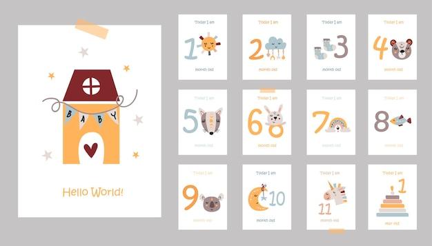 Tarjetas de bebé mensuales con ilustración de animales lindos