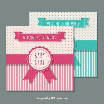 Tarjetas de bienvenida del bebé con cinta decorativa