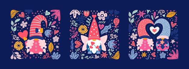 Tarjetas y carteles de gnomos lindos de san valentín. niños y niñas enanos en postal.