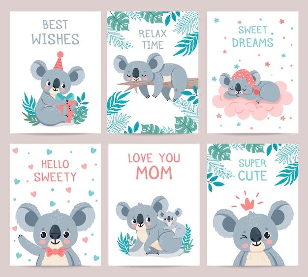 Tarjetas de carteles de koala. impresiones con lindos koalas durmiendo. bebé oso australiano abraza a la madre. invitación a fiesta con animales de la selva, conjunto de vectores. fiesta de invitación de tarjeta de ilustración, animal exótico koala perezoso