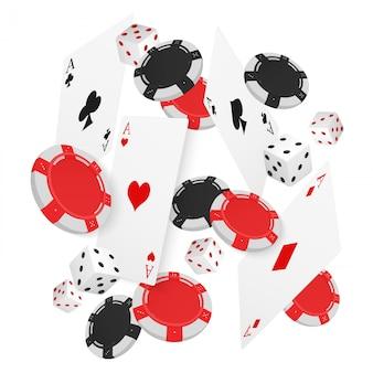Tarjetas de casino flotantes y fichas.