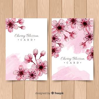Tarjetas de cerezo en flor