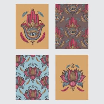 Tarjetas coloridas de elementos étnicos decorativos