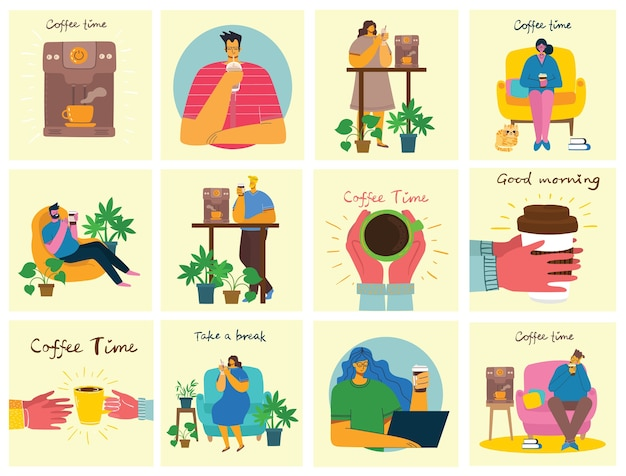 Tarjetas de concepto de hora de café, descanso y relajación.