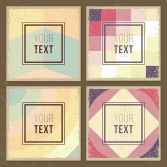 Tarjetas creativas vintage texturas hipster. patrones retro para carteles, flayers y diseños de banner. modelo.