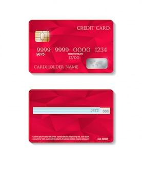 Tarjetas de crédito detalladas realistas con fondo abstracto rojo colorido. plantilla frontal y trasera