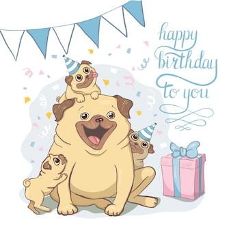 Tarjetas de cumpleaños con perros de dibujos animados lindo.