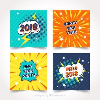 Tarjetas de año nuevo 2018 con diseño de comic