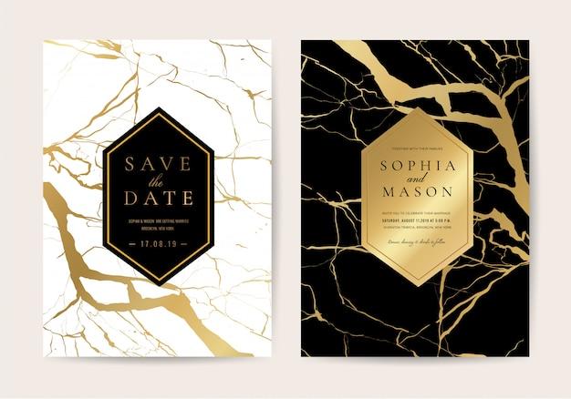 Tarjetas de invitación de boda con textura de mármol