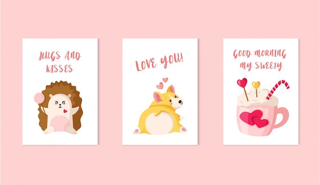 Tarjetas del día de san valentín: cachorro de corgi de dibujos animados, erizo kawaii con piruleta, bebida, bastón de caramelo