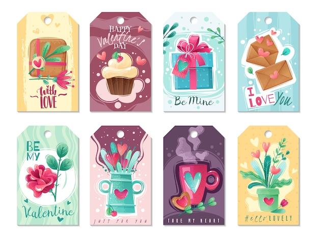 Tarjetas de dibujos animados del día de san valentín. tarjetas de felicitación del día de san valentín grandes en estilo de dibujos animados con textura shabby chic. gamma rosa-azul. tonos y colores brillantes y delicados.